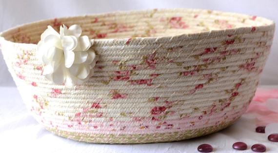 Shabby Chic Decor Basket, Handmade Pink Floral Basket, Decorative Rose Garden Decor, Cottage Storage Organizer, Coiled Rope Basket, Cat Bed