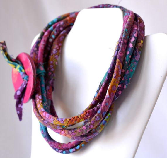 Pink Rope Necklace, Infinity Necklace, Handmade Wrap Fiber Jewelry, Unique Skinny Multi Strand Necklace, Summer Beach Accent Jewelry