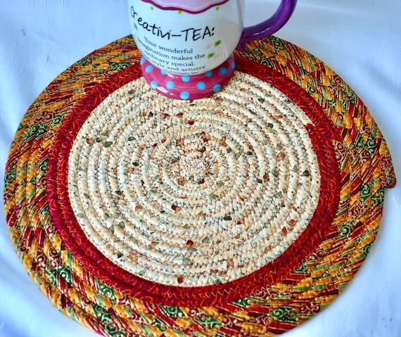 "Fall Place Mat, 1 Handmade Trivet, 11"" Table Mat, Foliage Potholder, Table Topper, Autumn Hot Pad, Orange Red Place Mat"