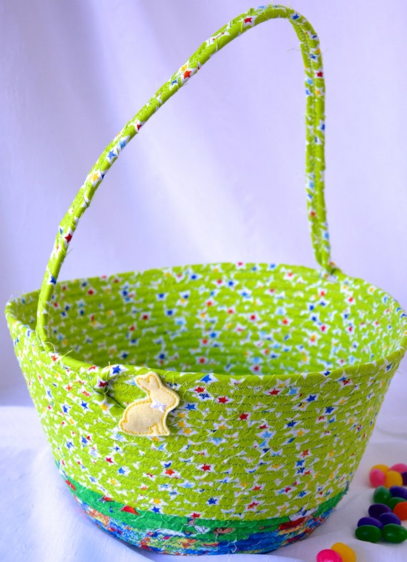 Boy Easter Basket, Handmade Green Easter Bucket, Cute Bunny Candy Holder, Fun Easter Egg Hunt Bag, Easter Decoration,