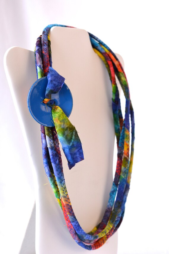 Blue Women Necklace, Batik Infinity Necklace, Handmade Wrap Fiber Jewelry, Unique Skinny Multi Strand Necklace, Royal Blue Accent Jewelry