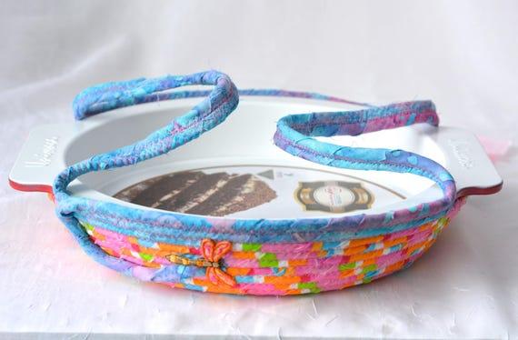 Pink Pie Basket, Pie Plate Gift Set, Pie Cozy, Handmade Pie Carrier, Dessert Caddy, Fun Party Cookie Holder Carrier