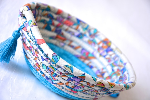 Blue Tassel Basket, Pretty Ring Dish, Quilted Fiber Art Bowl, Handmade Key Holder, Hand Coiled Fabric Basket, Potpourri Basket