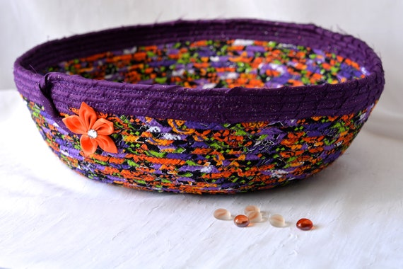 Halloween Decoration, Fabric Rope Basket, Handmade Halloween Bowl, Fall Autumn Home Decor, Halloween Candy Bucket,  Fall Orange BAsket
