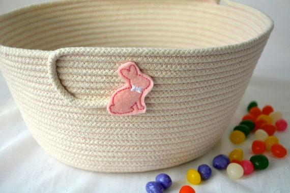 Easter Bucket, Handmade Pink Easter Basket, Beige Easter Egg Hunt Bag, Spring Decoration, Unique Baby Girl Toy Basket, Free Name Tag