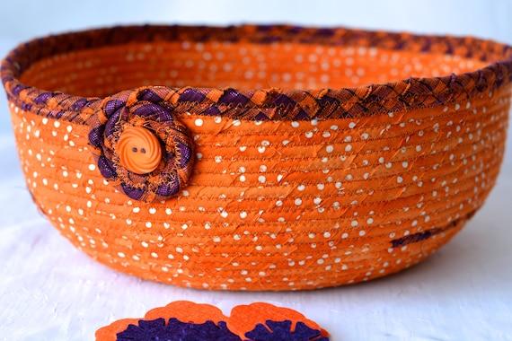 Halloween Decoration, Orange Fall Batik Basket, Handmade Halloween Candy Bucket, Autumn Decoration, Trick or Treat Bowl