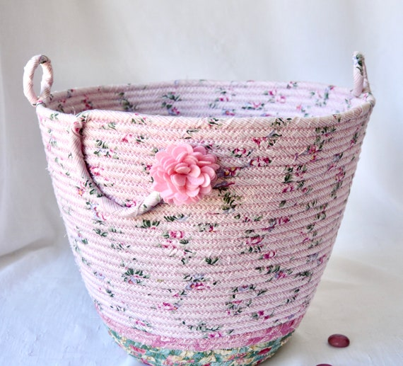 Pink Waste Basket, Handmade Nursery Handled Basket, Receptacle, Paper Recycle Bin, Unique Floral  Dust Bin, Waste Can for Bedroom, Office