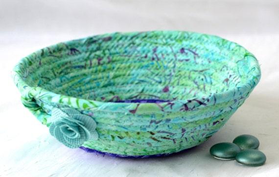 Turquoise Batik Basket, Handmade Ring Dish, Aqua Bath Soap Basket, Candy Bowl, Gorgeous Batik Key Tray,  Potpourri Holder, Stocking Stuffer