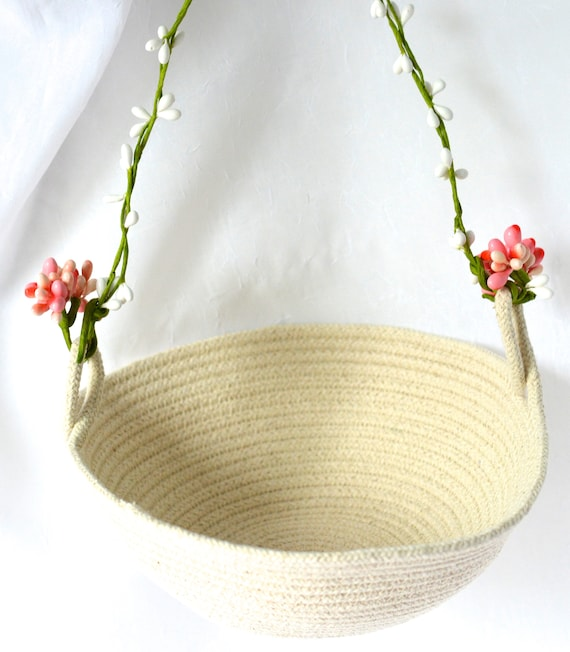 Flower Girl Basket, Handmade Quilted Bowl, Primitive Coiled Fabric Basket, Rustic Natural Rope Wedding Decor, Clothesline Bowl, Minimalist