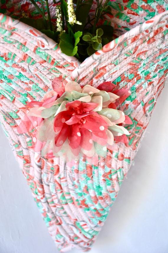 Spring Wall Art, Pretty Pink Wall decor, Handmade Wall Hanging,  Fabric Vase, Wreath Vase, Door Hanger, Front Door Wreath