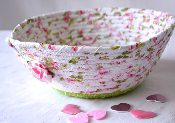 Shabby Chic Basket, Handmade Pink Fabric Bowl, Floral Bath Basket, Brush Holder, Girl Hair Tie Bowl, Pink Key and Phone Basket