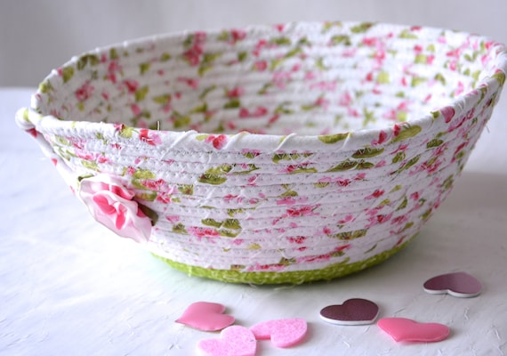 Pink Rose Basket, Handmade Shabby Chic Bowl, Floral Bath Basket, Brush Holder, Girls Room Decor, Pink coiled fabric basket