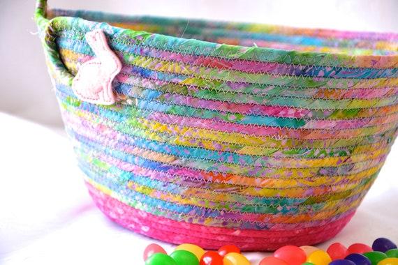 Beautiful Easter Bucket, Spring Batik Basket, Handmade Easter Basket, Gorgeous Fiber Pottery Basket, Girl Easter Bucket, Pink Spring Decor