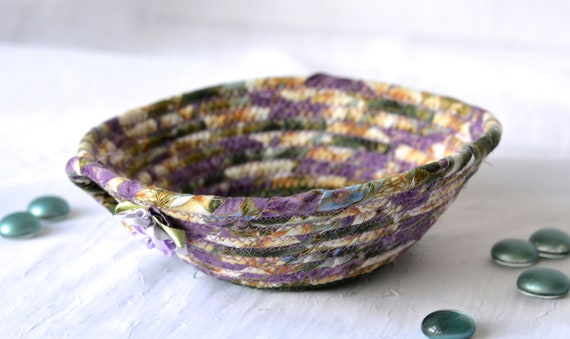 Violet Ivory Bowl, Handmade Lavender and Beige Fabric Basket, Modern Chic Floral Gold Metallic Bowl, Artisan Coiled, Quilted