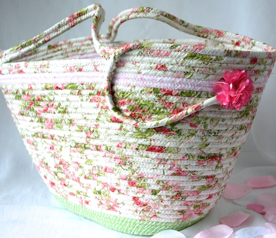 Beach Tote Bag, Handmade Quilted Basket, Decorative Pink Floral Bag, Handled Picnic  Basket, Baby Shower Gift