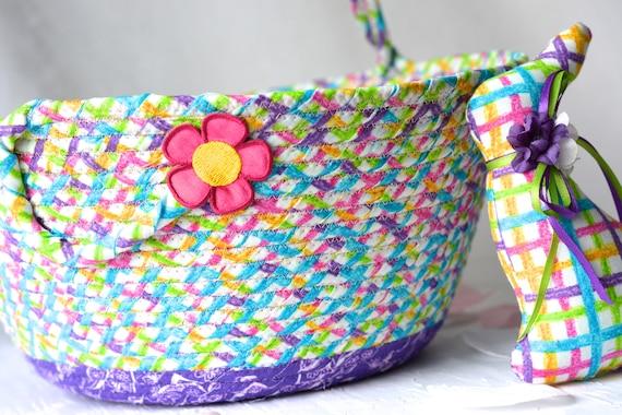 Girl Easter Basket and 1 Matching Easter Bunny, Handmade Fabric Basket, Pretty Purple Easter Bucket, Flower Girl Basket, Basket with Handle