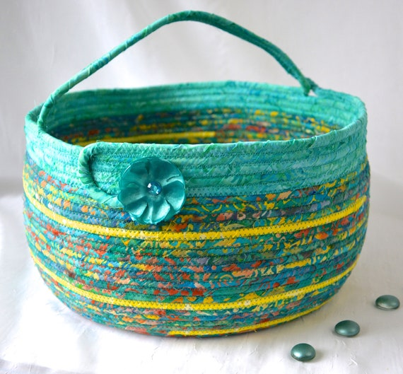 Teal Bolga Basket, Storage Container, Handmade Coiled Rope Basket with handle, Country Chic Fabric Bin, Gorgeous Textile Art Basket