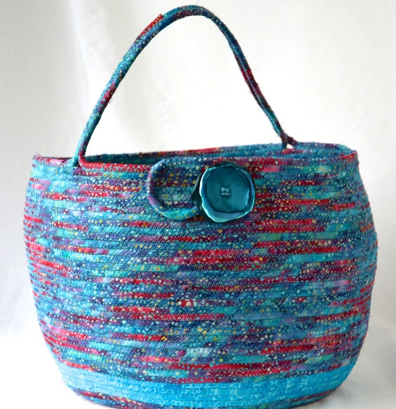 Boho Blanket Basket, Textile Art Basket, Blue Hat and Glove Bin, Handmade Coiled Rope Basket, Storage Organizer, Knitting Project Bag