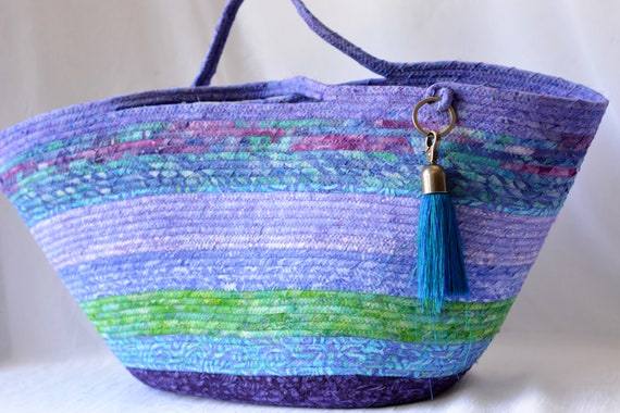 Summer Beach Bag, Lovely Batik Tote Bag, Unique Moses Basket, Handmade Purple and Jade Batik Handbag, Gorgeous Batik Picnic Basket