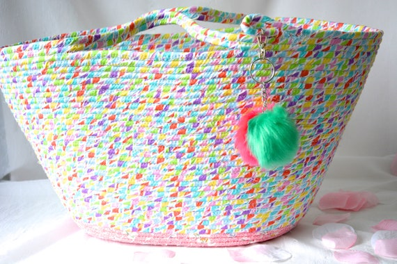 Spring Tote Bag, Nursery Decor, Moses Basket, Handmade Blanket Basket, Cute Baby Toy Basket, Hamper, Decorative Coiled Rope Basket