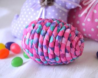Easter Egg Ornament, 1 Pink Easter Egg, Handmade Easter Egg Decoration,  Hand Coiled Fiber Easter Egg, Magenta Glitter Fabric Basket Filler