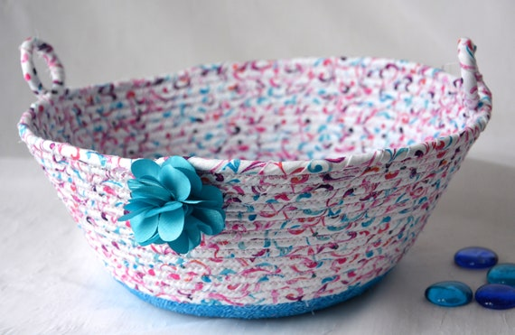 Spring Fruit Bowl, Aqua Blue Home Decor Basket, Handmade Napkin Holder, Bread Basket, Key Holder, Aqua Quilted Basket, Remote Control Bin