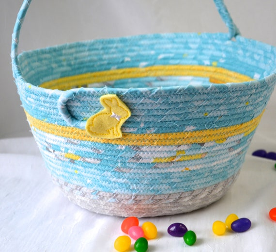 Boy Easter Basket, Handmade Easter Bucket, Blue Spring Decoration, Easter Egg Hunt Bag,  Jelly Bean Holder, Free Name Tag
