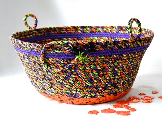 Halloween Candy Basket, Handmade Fall Home Decor, Black and Orange Artisan Basket, Hand Coiled Fabric Basket, Fall Rope Bowl