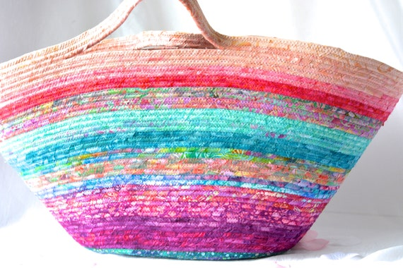 Textile Art Basket, Batik Tote Bag, Handmade Summer Beach Bag, Cottage Chic Handbag, Laptop Purse Case, Beautiful Coiled Rope Basket