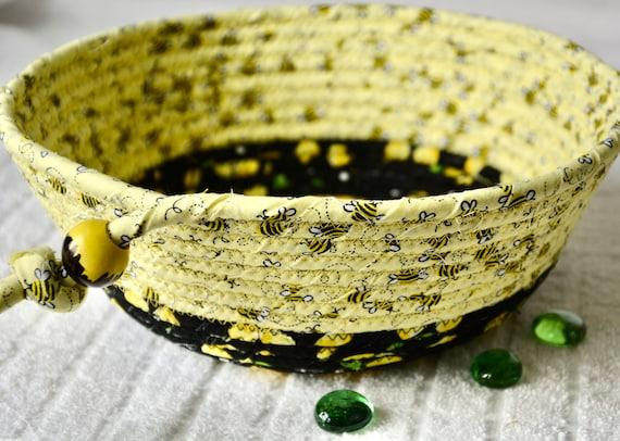 Bee Key Basket, Candy Dish, Summer Picnic Basket, Handmade Potpourri Bowl, Black and Yellow Ring Dish, Clip Holder, Desk Accessory