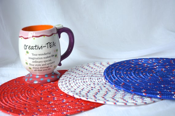 July 4th Decoration, 3 Red White and Blue Trivets, Patio  Place Mats, Handmade Table Toppers,Runner, Summer Hot pad, Picnic Potholder