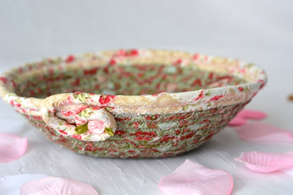 Shabby Chic Basket, English Garden Floral Bowl, Green Floral Ring Dish, Handmade Makeup Organizer, Gift Basket, Coiled Rope Bowl