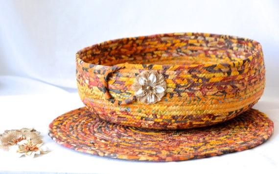 "Rustic Tan Decoration, Gorgeous Batik Basket and Matching 14"" Trivet, Handmade Centerpiece Bowl Set, Boho Artisan Decoration"