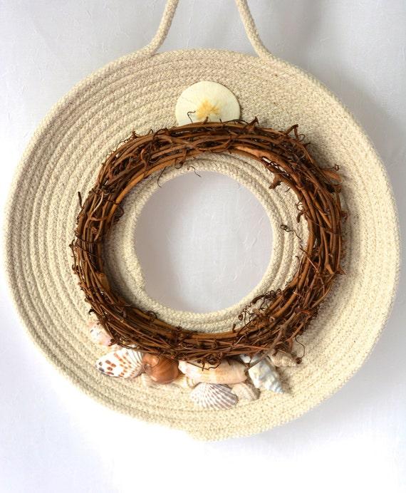 Shell Grapevine Wreath, Sea Breeze Door Hanger, Beach Wall Art, Cottage Chic Quilted Wreath, Handmade Sea Shell Home Decor, Modern