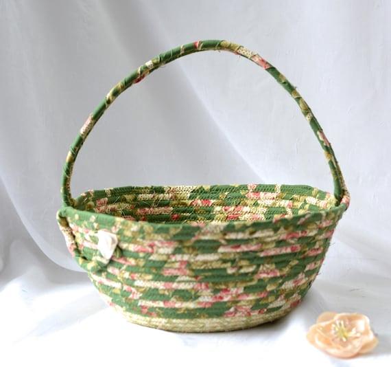 Shabby Chic Rose Basket, Handmade Green Flower Girl Basket, Garden Patio Decoration, English Garden Basket, Coiled Rope Basket