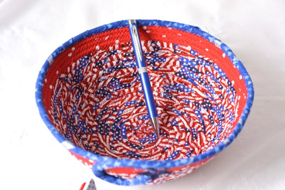 Football Party Bowl, Gift Basket, Handmade Red White and Blue Party Bowl, Picnic Fabric Basket, Patriotic Home Decor, Veteran Gift