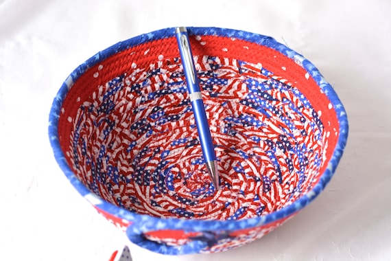 4th of July Decoration, Gift Basket, Handmade Red White and Blue Party Bowl, Picnic Fabric Basket, Patriotic Summer Party Decor