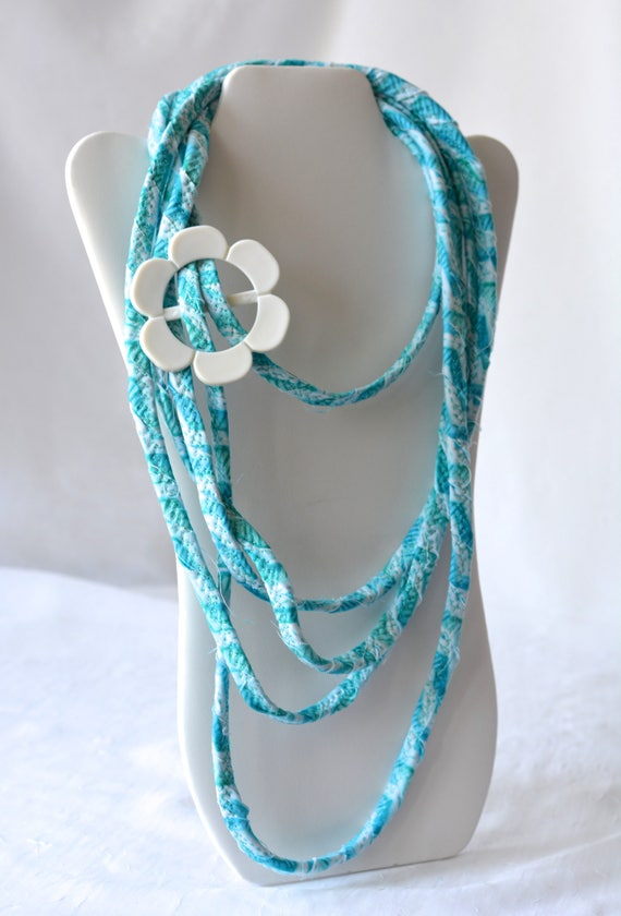 Summer Beach Necklace, Aqua Infinity Fabric Necklace, Handmade Wrap Fiber Jewelry, Turquoise Skinny Multi Strand Necklace