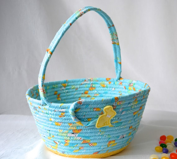 Boy Easter Basket, Handmade Easter Bucket Decoration, Baby First Easter Egg Hunt Bag, Blue and Yellow Easter Decoration, Free Name Tag