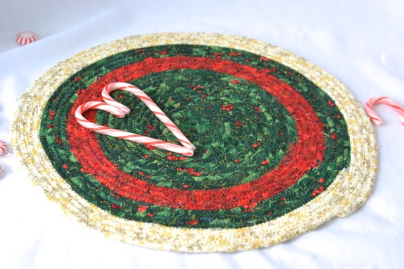 "Lovely Christmas Trivet, 1 Handmade Place Mat, 14"" Quilted Potholder, Fabric Table Topper, Christmas Holiday Table Runner, Holiday Trivet"