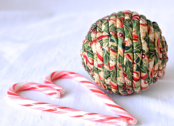 Holly Christmas Ornament, Handmade Holiday Decoration, Gold Bowl Filler, Hand Coiled Fiber Christmas Ball,  Holiday Home Decor