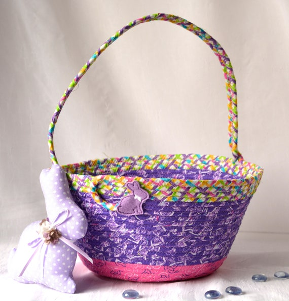 Girl Easter Basket and 1 Cute Easter Bunny, Handmade Fabric Basket, Pretty Purple Easter Bucket, Flower Girl Basket, Basket with Handle