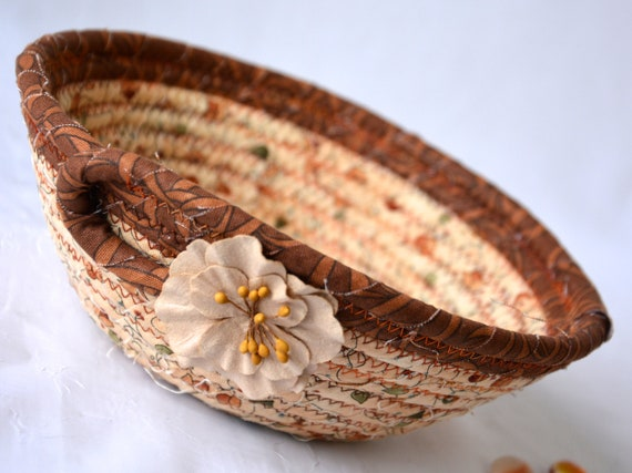 Fall Potpourri Bowl, Brown Fabric Basket, Desk Accessory Basket, Candy Dish, Coin Holder, Ring Holder, Bath  Decoration