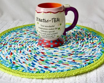 """Blue Place Mat, 1 Handmade Fabric Trivet, 14"""" Quilted Hot pad, Pretty Blue Table Topper,  Table Runner, Coiled Potholder"""