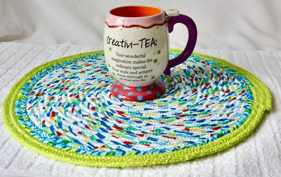 Blue Place Mat, 1 Handmade Fabric Trivet, Quilted Hot pad, Pretty Blue Table Topper,  Table Runner, Coiled Potholder
