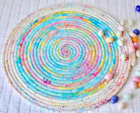 Spring Place Mat, 1 Handmade Pastel Batik Fabric Trivet, Spring Hot pad, Pretty Blue Table Topper,  Table Runner, Coiled Potholder