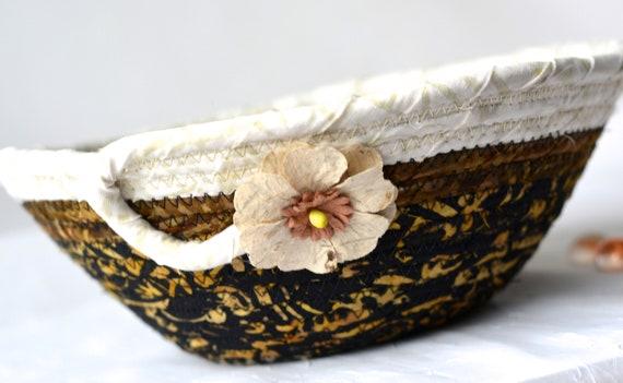 Rustic Gift Basket, Gorgeous Batik Basket, Handmade Fiber Art Bowl, Coiled Rope Basket, Gift for Dad HIm Men, Textile Art Basket