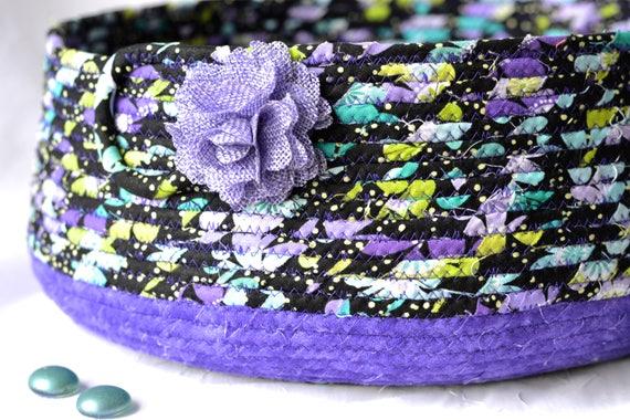 Lavender Bath Decor Bowl, Handmade Purple Fabric Basket, Modern Rope Bowl,  Ultra Violet Fiber Basket, Remote Control Holder Caddy