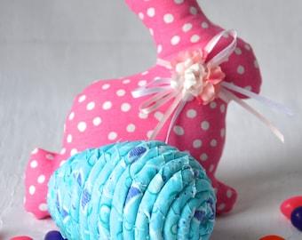 Aqua Easter Egg, 1 Ornament, Handmade Easter Egg Decoration, Easter Egg Hunt Fun, Fabric Easter Egg, Hand Coiled Fiber Easter Egg