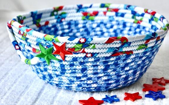 Picnic Napkin Bowl, Summer Home Decor, Cookout Party Basket, Handmade Blue Fruit Bowl, Chip Bowl, BBQ Decor, Checkered Key Basket